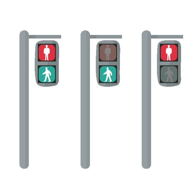 交通安全!歩行者用信号機のイラスト