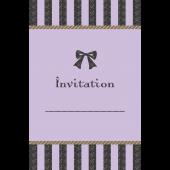 リボンがおしゃれでかわいい♪招待状 テンプレート(紫) イラスト