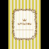 おしゃれ!ストライプの招待状のテンプレート (縦)黄色 イラスト