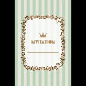 おしゃれ!ストライプの招待状のテンプレート (縦)緑色 イラスト