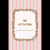 おしゃれ!ストライプの招待状のテンプレート (縦)ピンク色 イラスト