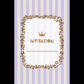 おしゃれ!ストライプの招待状のテンプレート (縦)紫色 イラスト