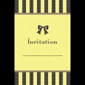 リボンがおしゃれでかわいい♪招待状 テンプレート(黄色) イラスト
