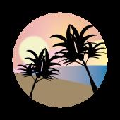 ハワイ イラスト(南国の夕日/サンセット)