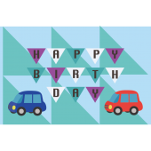 誕生日カードのテンプレート 車とガーランド イラスト