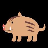 かわいい!子供の猪(イノシシ)の  無料  イラスト