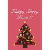 【グリーティング】クリスマスツリーのカードイラスト