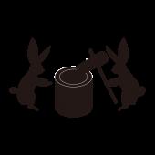 お月見の うさぎ!餅つきをする 白黒 (シルエット)無料 イラスト