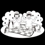 かわいい!遠足 の お昼(昼食)!無料 白黒(モノクロ)  イラスト