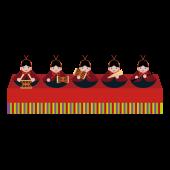ひなまつり「横並び♪五人囃子(ごにんばやし)」の 無料 イラスト