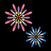 淡い色味のかわいい♪打ち上げ 花火 の 無料 イラスト【花火大会】