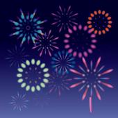 夜空の 花火大会 の 花火の かわいい 無料 イラスト