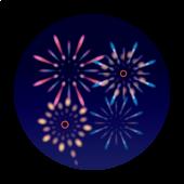 夜空の 花火大会 の 花火の フリー イラスト【丸型】