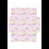 花柄のかわいい封筒(パステルピンク)のテンプレート イラスト