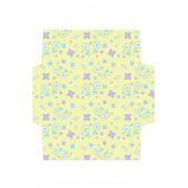 花柄のかわいい封筒(パステルイエロー)のテンプレート イラスト