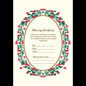 結婚証明書 英語 の テンプレート【縦】 イラスト♪ビビットフラワー