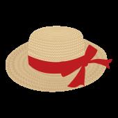 おしゃれ!麦わら帽子 リボン  (レッド)の フリー イラスト