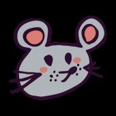 かわいい!ネズミ(鼠,ねずみ)!顔アップ!手書き 無料 イラスト!