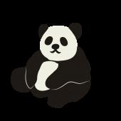 かわいい! おしゃれ!パンダ  の 無料 イラスト! 座っているパンダ