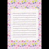 花柄のかわいい便箋(パステルピンク)のテンプレート イラスト