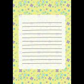 花柄のかわいい便箋(パステルイエロー)のテンプレート イラスト