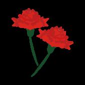 赤色の かわいい カーネーションの 無料 イラスト