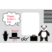 髭パンダ パパ の おしゃれな父の日のグリーティング  無料 イラスト【横】