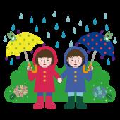 梅雨 無料 イラスト かわいい!子供(こども・子ども)と紫陽花
