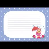 梅雨♪うさぎと傘の 便箋 フレーム  (ピンク) 無料 イラスト