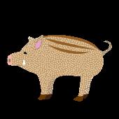おしゃれ ♪水玉模様の  猪(亥 / イノシシ)の 無料 イラスト