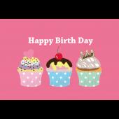 誕生日カップケーキのグリーティングカード 無料 イラスト