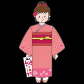 七五三の 無料 イラスト 7歳の着物を着た女の子