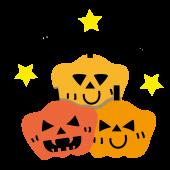 【ハロウィン】カボチャトリオとコウモリの イラスト