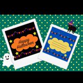 ハロウィンのグリーティング  メッセージ ポラロイド とクロネコ イラスト