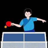 卓球 ♪ 卓球台で一生懸命プレーする男性の フリーイラスト