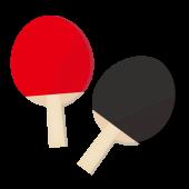 卓球のラケット セット!赤色と青色♪ フリーイラスト