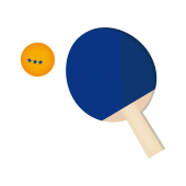 卓球!青色ラケットとボール♪ フリー イラスト