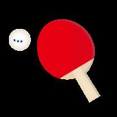 卓球!赤色ラケットとボール♪ フリー イラスト