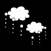梅雨に便利♪ 白黒の無料(フリー)雨雲 イラスト