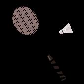 バドミントンのラケットとシャトル(羽根)のイラスト