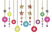 クリスマスのカラフルな飾り(ボール型&星型オーナメント)イラスト