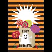 ハロウィンのグリーティングカード おばけのイラスト(縦)