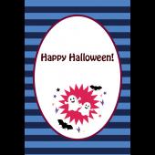 ハロウィンのグリーティングカード おしゃれなおばけのイラスト(縦)