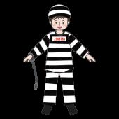 ハロウィンの子供(男の子)の仮装 囚人風  無料 イラスト