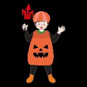ハロウィン♪ 男の子のカボチャの仮装  フリー イラスト