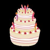苺(いちご)のデコレーションケーキ フリー イラスト