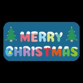 かわいい!雪がかかった♪クリスマスの文字・ロゴ(四角型) のイラスト