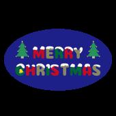 かわいい!雪がかかった♪クリスマスの文字・ロゴ(丸型) のイラスト