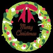【クリスマス】リボンがポイント!Merry Christmasクリスマスリースのイラスト