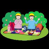 遠足(えんそく)かわいい! 公園でお弁当を食べる子供の 無料 イラスト